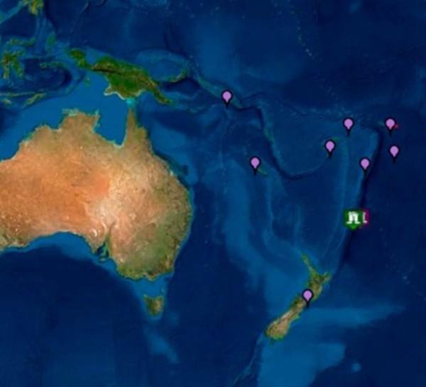 El epicentro del sismo marcado con verde en este mapa del Centro de Alertas de Tsunamis del Pacífico.