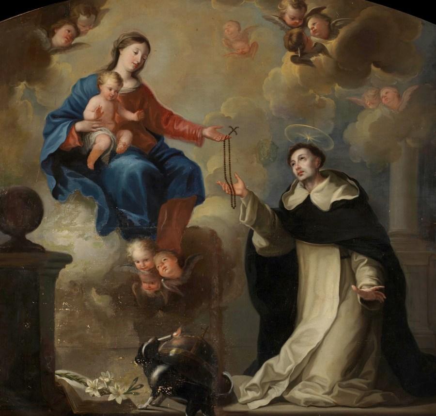 La Virgen le entrega el rosario a Santo Domingo