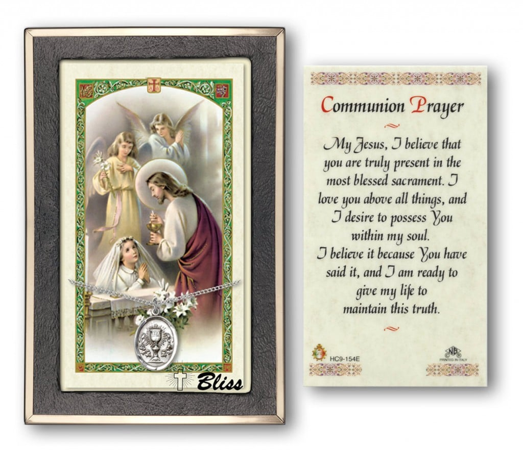 First Holy Communion Prayer Cards With Medal