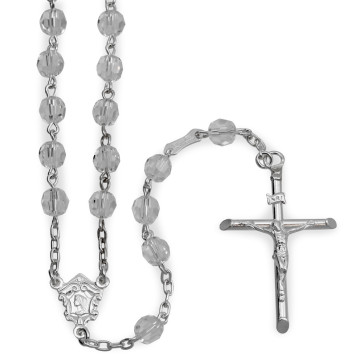 Sterling Silver Rosary with Clear Swarovski Crystal Beads