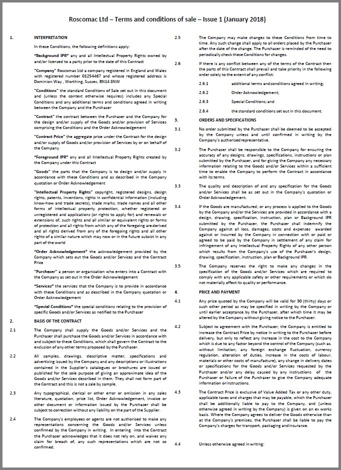 Roscomac terms and conditions of sale