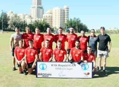 Elphin to Abu Dhabi: Shane Reynolds (front, sec-ond from right) and his Al Reem Shamrocks teammates.