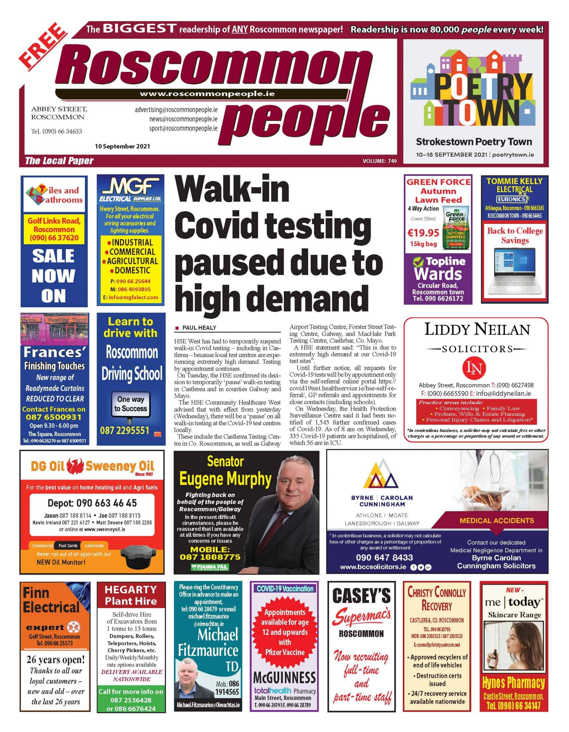Roscommon People newspaper September 10, Digital edition