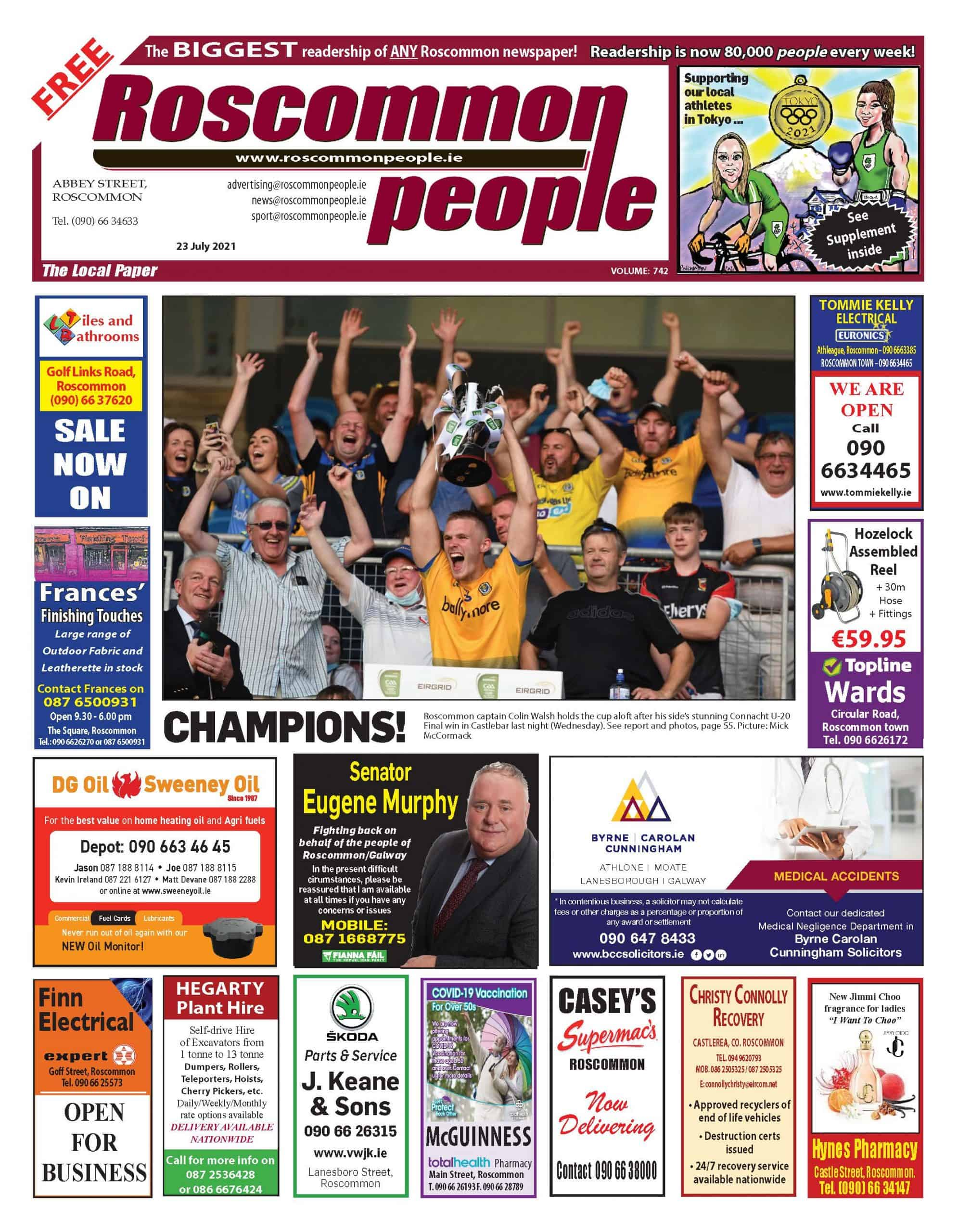 Roscommon People newspaper 23rd of July 2021, Digital edition