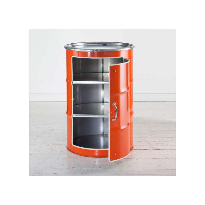 Meuble en bidon recycl orange type meuble industriel  Rose bunker