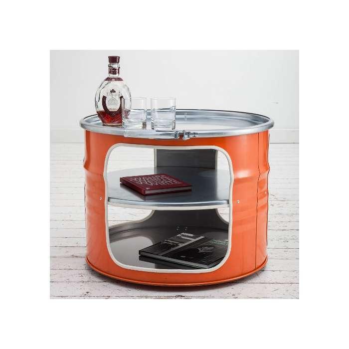Table Basse Bidon Recycl Orange Meuble Type Industriel
