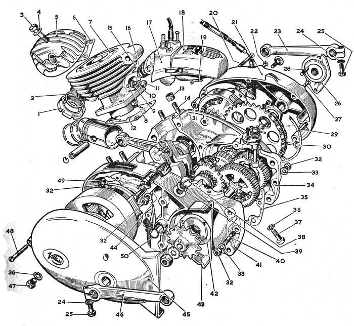 Motordelar / sprängskisser.