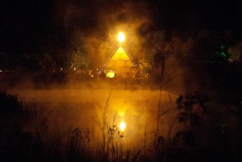 Misty Pyramid and pond