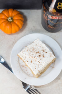 Tres leches cake with the amazing seasonal Bailey's Pumpkin Spice!   https://www.roseclearfield.com