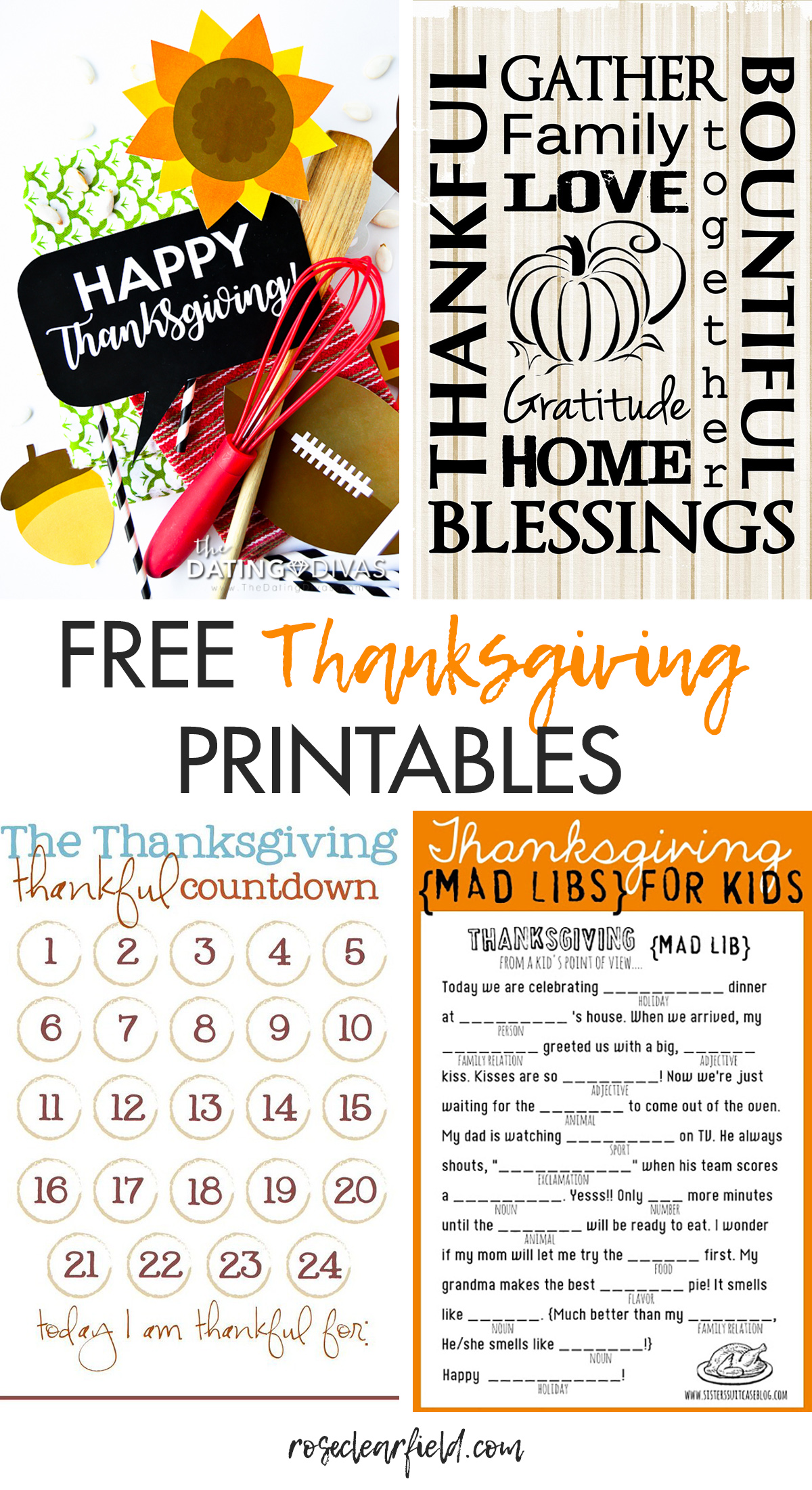 Free Thanksgiving Printables Round Up Rose Clearfield