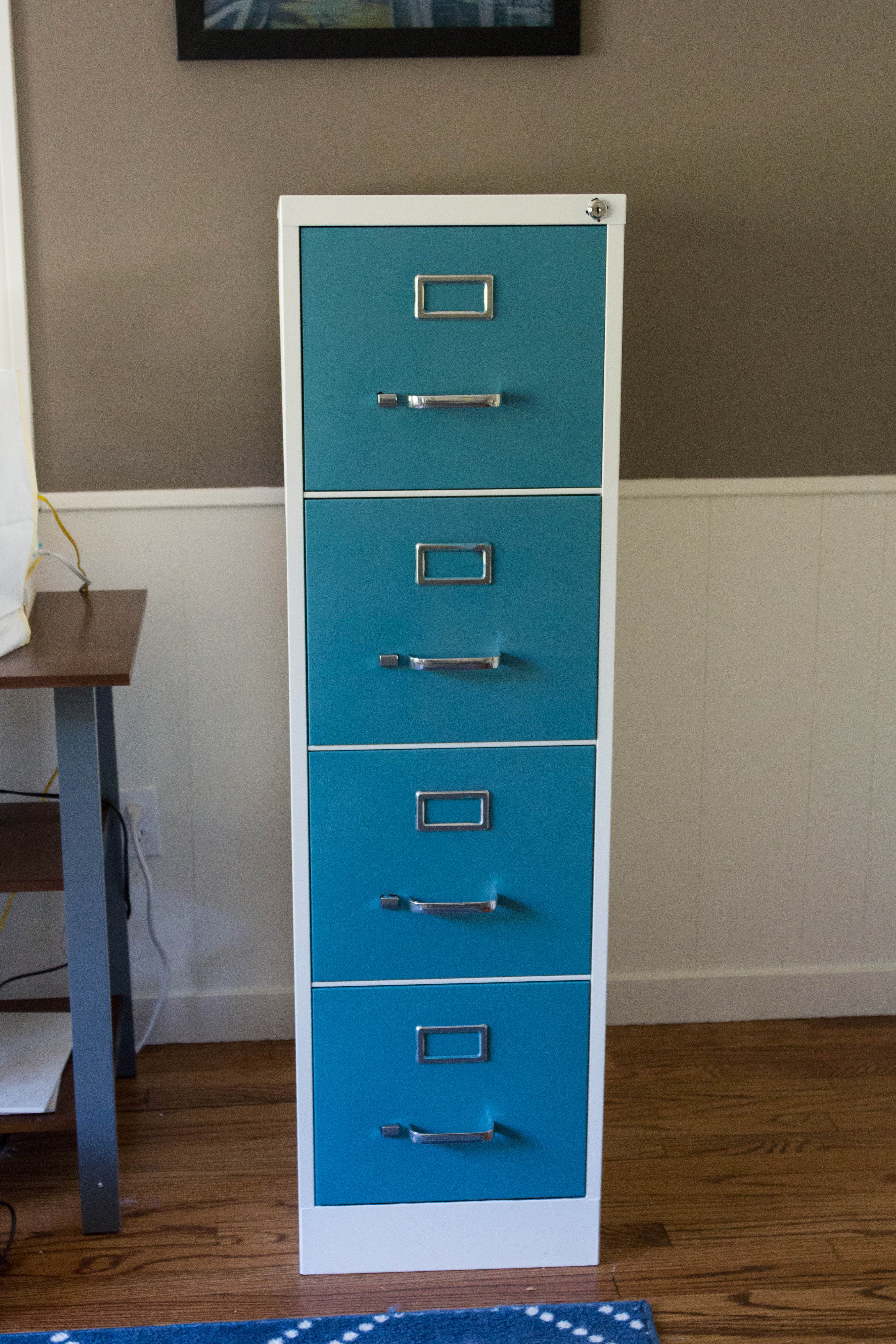 Freshly Painted 4 Drawer Metal File Cabinet. A Simple Paint Job Makes Such A