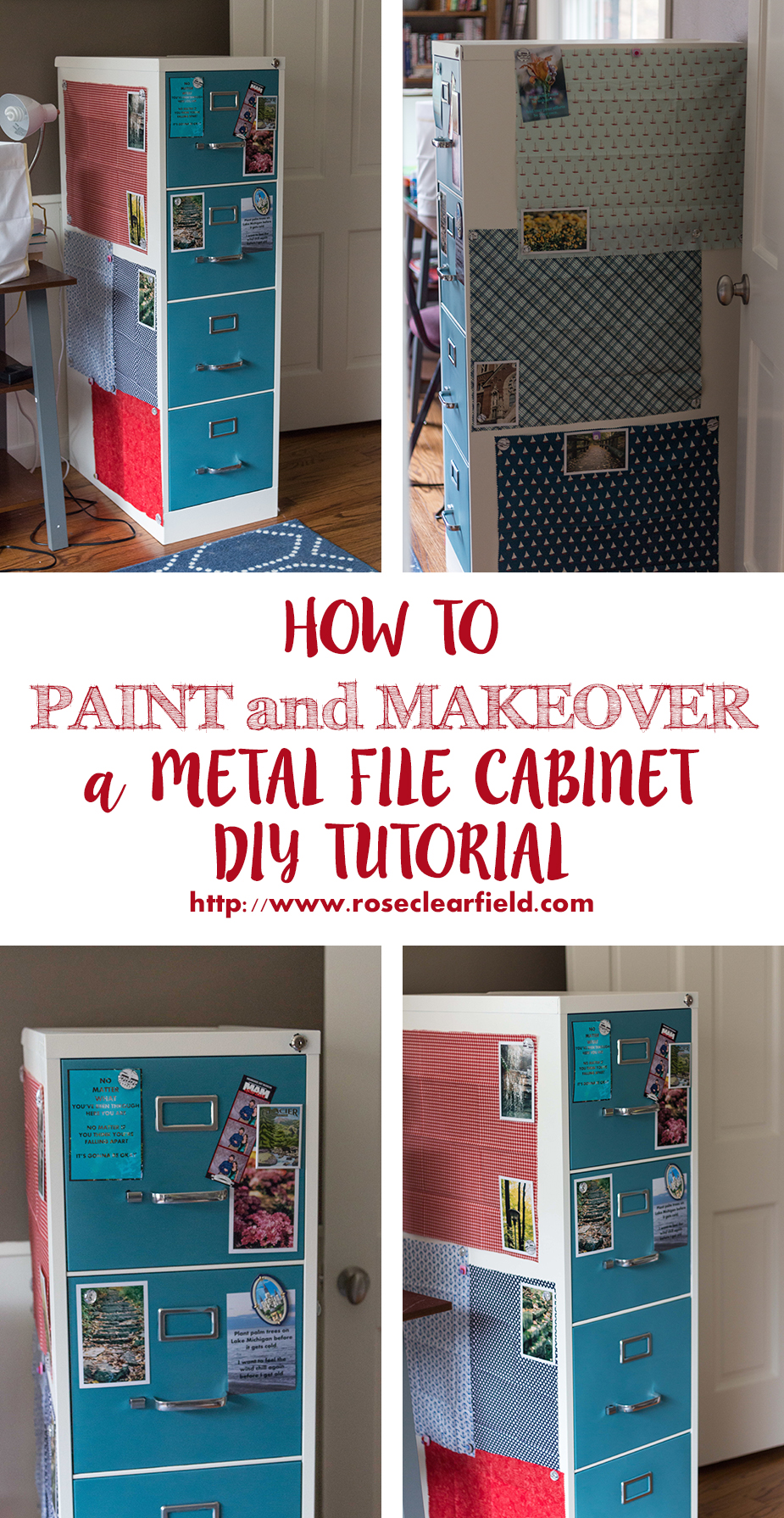 How to Paint and Makeover a Metal File Cabinet. A DIY tutorial from Rose Clearfield. | http://www.roseclearfield.com