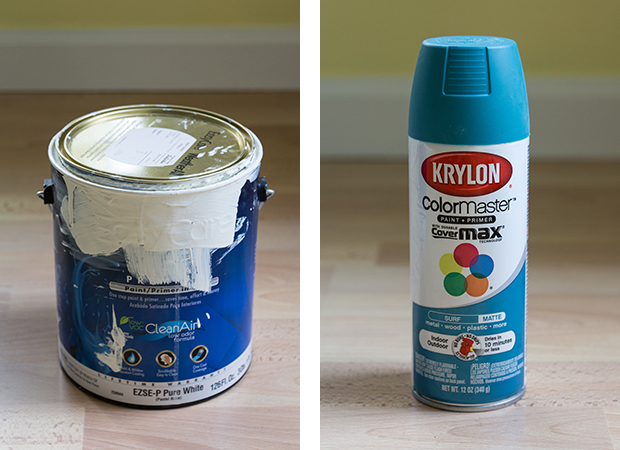 How to Paint and Makeover a Metal File Cabinet - True Value's Baby Chick (satin) and Krylon's Surf (matte) | http://www.roseclearfield.com