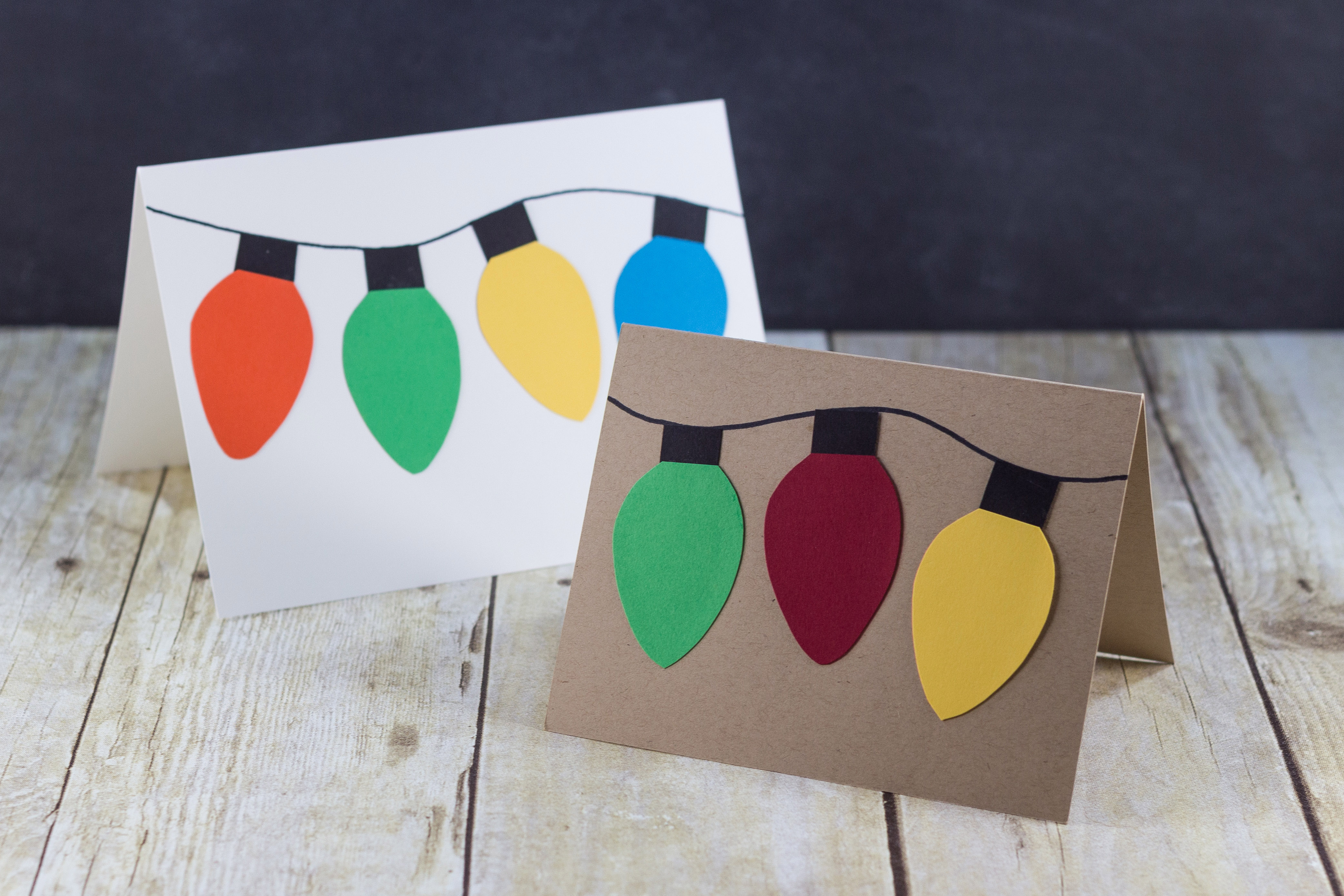 Handmade holiday cards with DIY paper Christmas lights. | http://www.roseclearfield.com