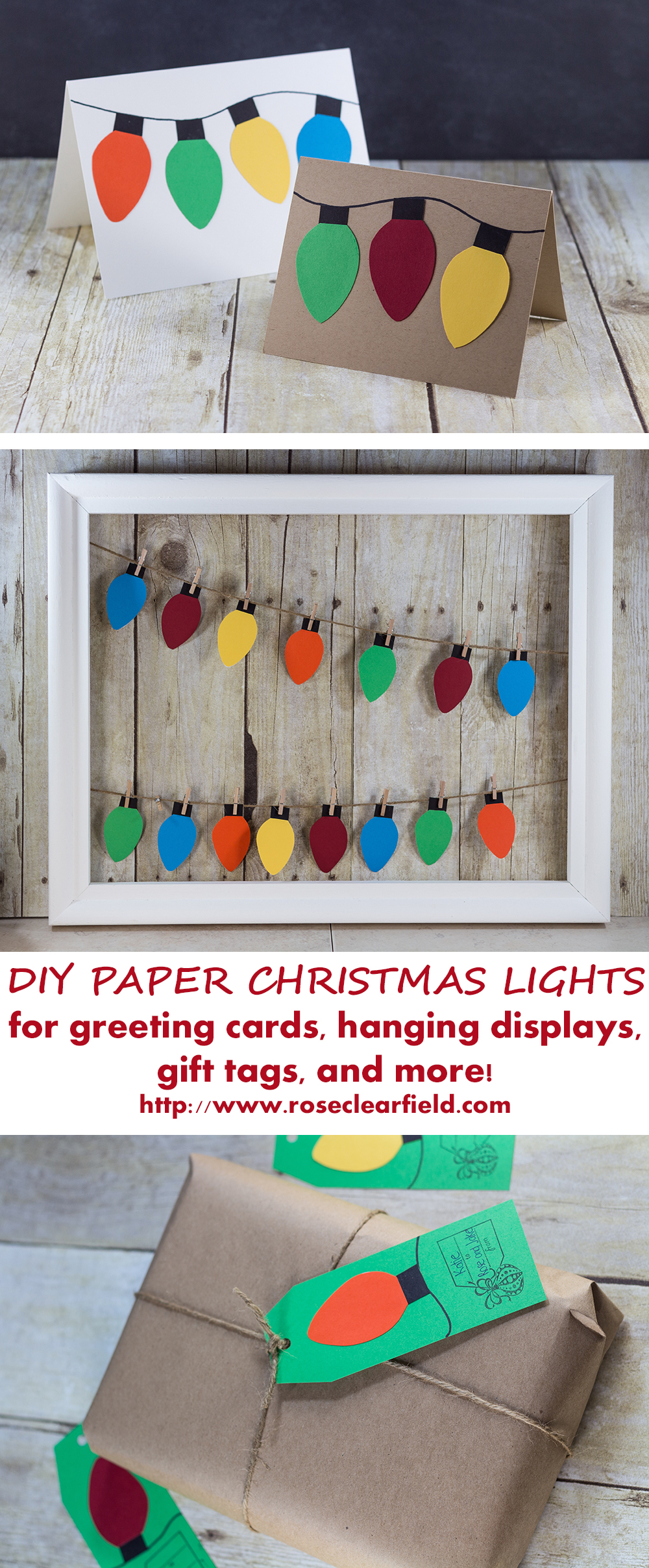 DIY paper Christmas lights holiday craft ideas. Make greeting cards, garlands, gift tags, and much more! | http://www.roseclearfield.com