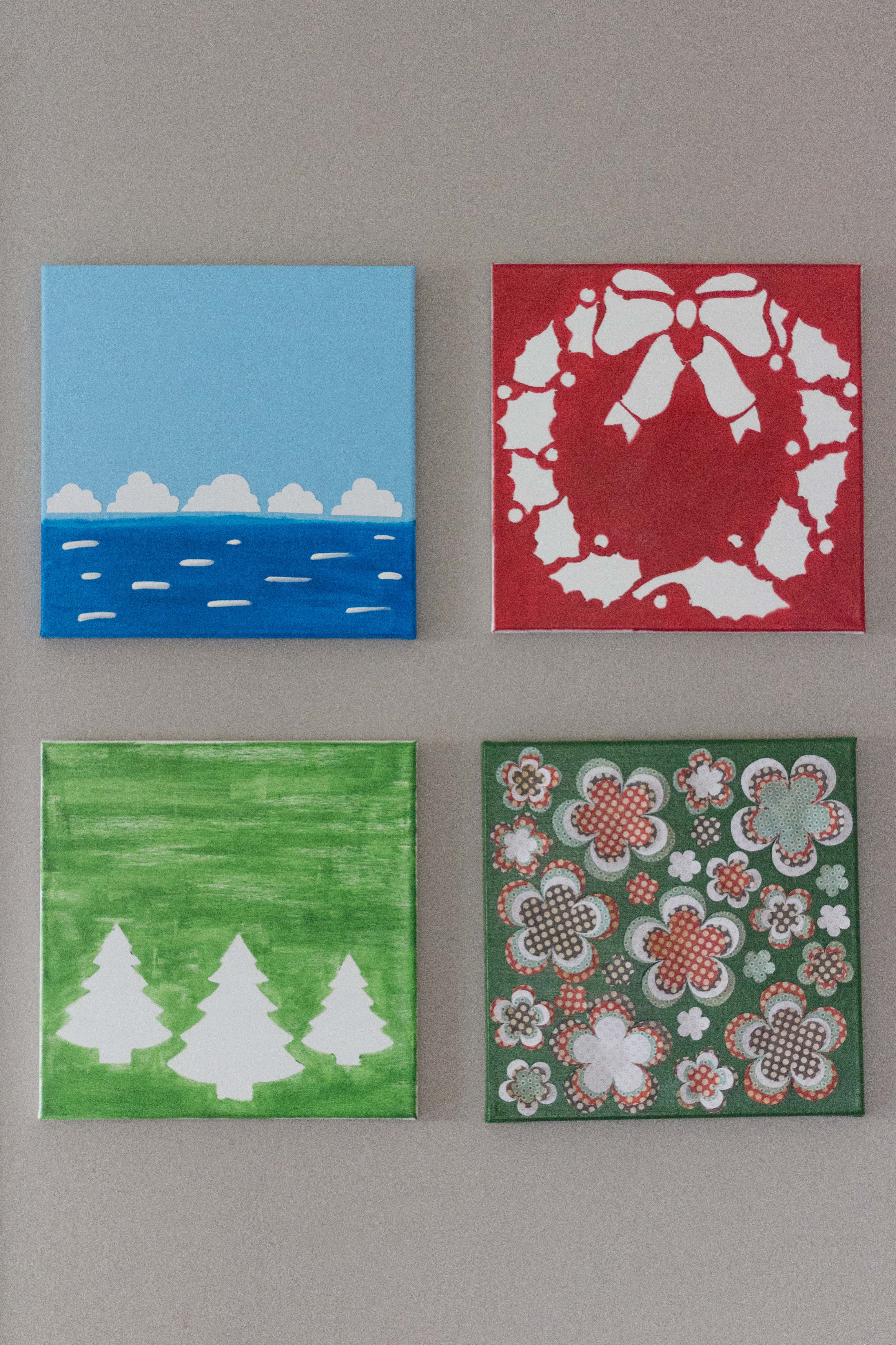 DIY holiday canvas wall art display. Check out the post to learn more about to make your own holiday decor. | https://www.roseclearfield.com