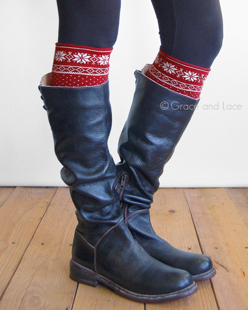 Grace and Lace Red / Cream Snowflake Patterned Boot Cuffs...love them! | http://www.roseclearfield.com