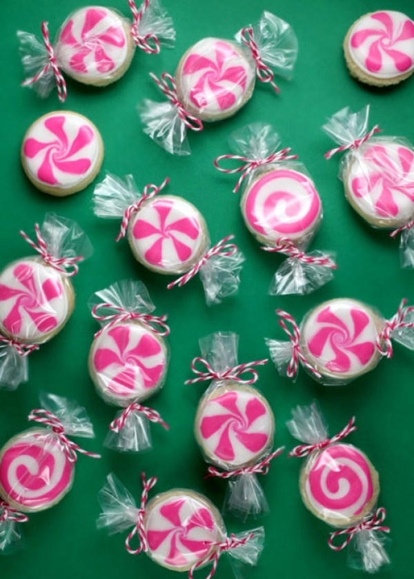 10 Cute Creative Christmas Cookies - Peppermint Candy Sugar Cookies | http://www.roseclearfield.com