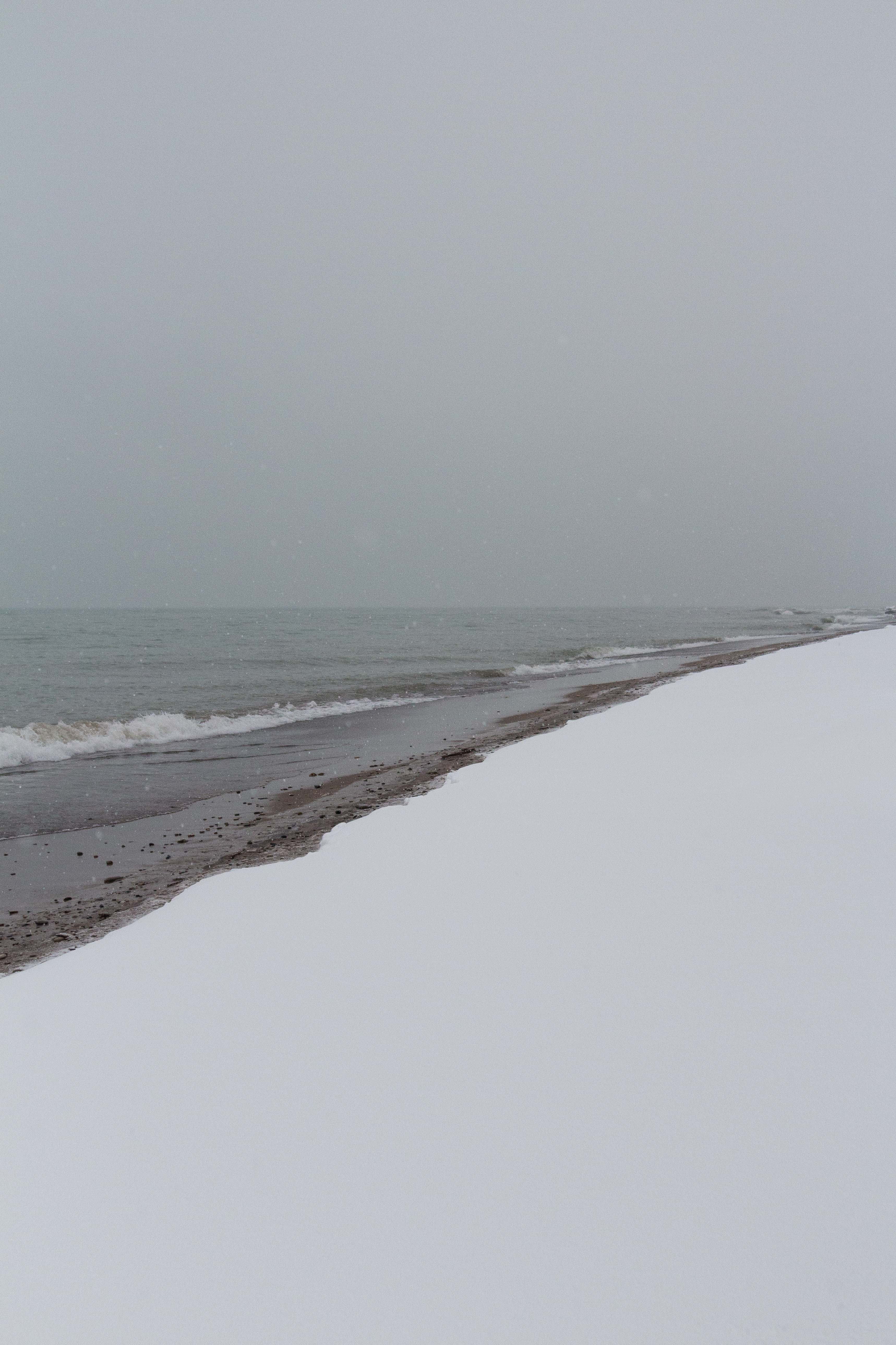 Snowfall on the Lake Michigan Beachfront in Southeast, WI | http://www.roseclearfield.com