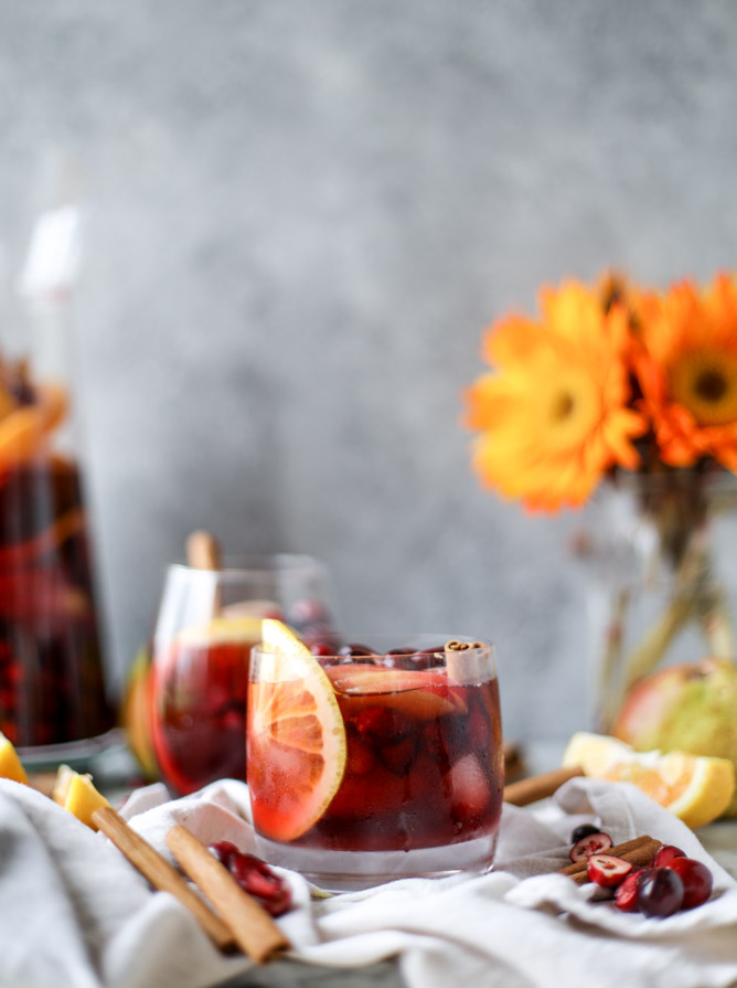 Last-Minute New Year's Eve Party Ideas - Cranberry Chai Sangria | https://www.roseclearfield.com