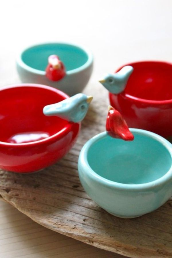 Pantone Spring 2017 Island Paradise - Turquoise and Red Bird Bowls | https://www.roseclearfield.com