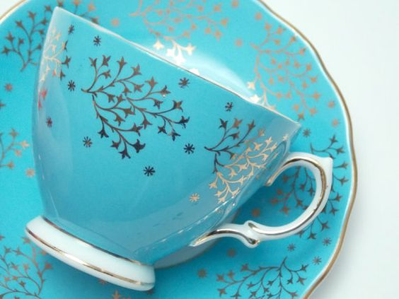 Pantone Spring 2017 Island Paradise - China Tea Cup and Saucer | https://www.roseclearfield.com