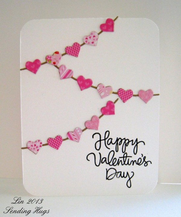 Last-Minute DIY Valentine's Day Gift Ideas - Heart Banner Valentine's Day Card via Sending Hugs | http://www.roseclearfield.com