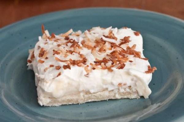 Easter Dinner Menu - Coconut Cream Pie Bars via Boys Ahoy | http://www.roseclearfield.com