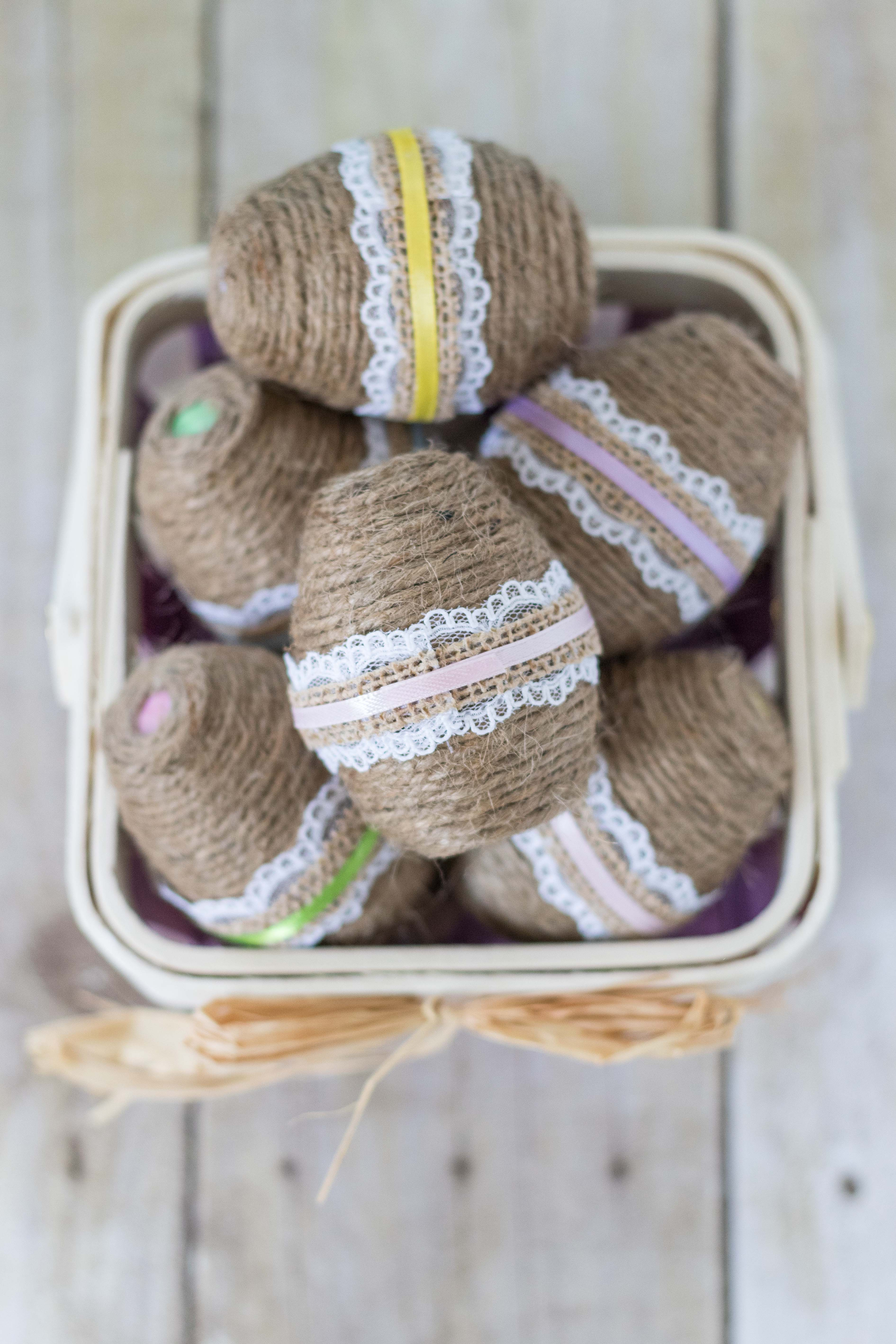 DIY Twine Wrapped Plastic Easter Eggs with Lace and Ribbon | http://www.roseclearfield.com