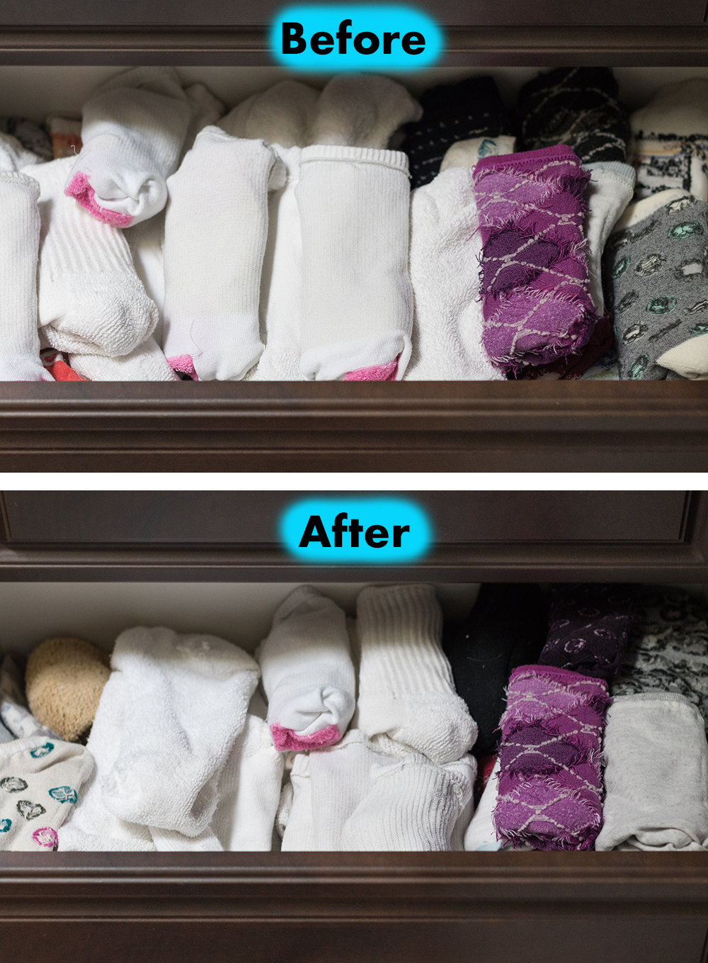 10 Quick Decluttering Projects to Organize Your Home - Sock Drawer Organization | http://www.roseclearfield.com