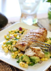 30 Days of Healthy Grilling Recipes - Easy Grilled Mahi Mahi with Avocado and Corn Salta via Laughing Spatula | https://www.roseclearfield.com