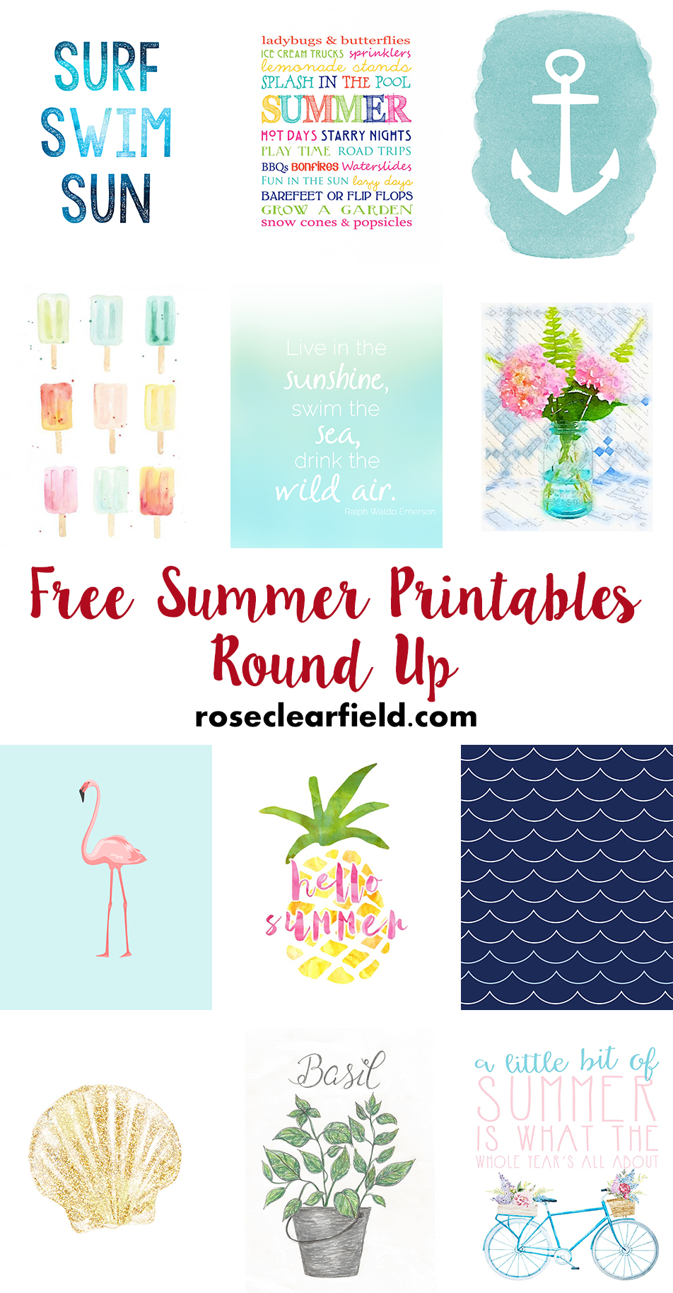 Free Summer Printables | http://www.roseclearfield.com