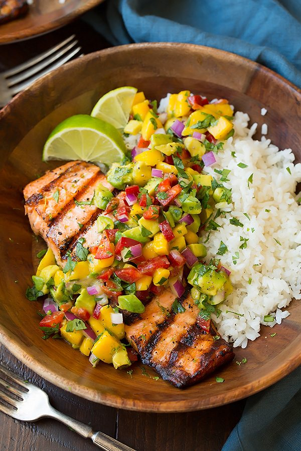 30 Days of Healthy Grilling Recipes - Grilled Lime Salmon with Avocado Mango Salsa and Coconut Rice via Cooking Classy | http://www.roseclearfield.com