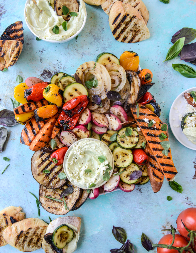 30 Days of Healthy Grilling Recipes - Marinated Grilled Vegetables with Avocado Whipped Feta via How Sweet It Is | http://www.roseclearfield.com