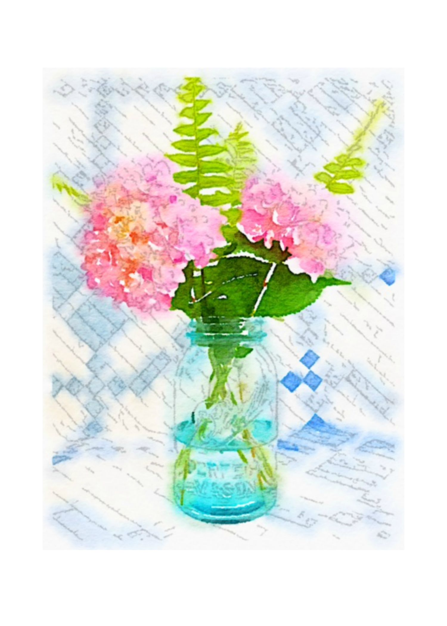 Free Summer Printables - Hydrangeas in Mason Jar Watercolor Print via On Sutton Place | http://www.roseclearfield.com