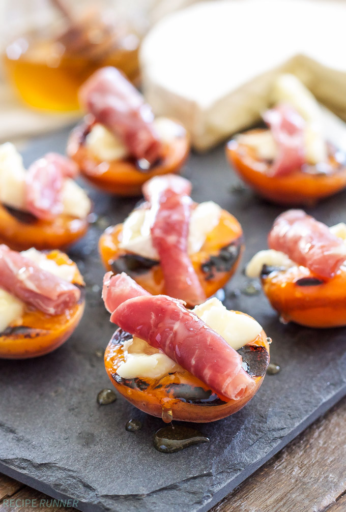30 Days of Grilled Desserts - Grilled Apricots with Brie, Prosciutto, and Honey via Recipe Runner | http://www.roseclearfield.com