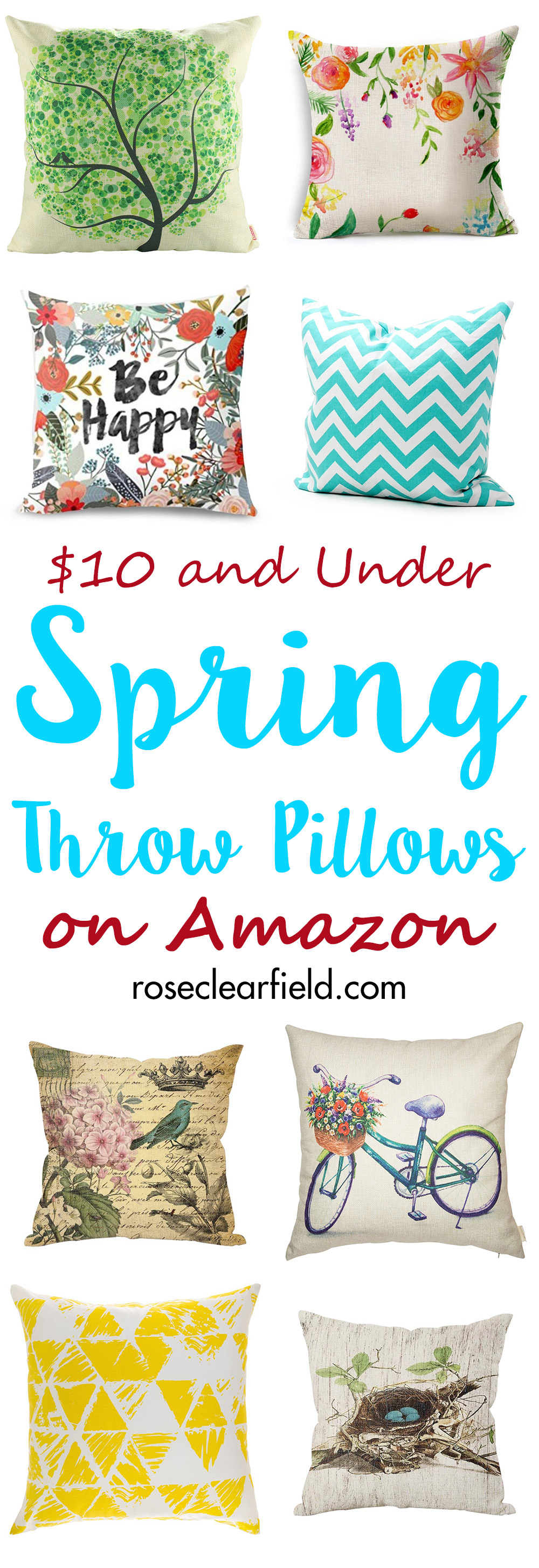 $10 and Under Spring Throw Pillows on Amazon | http://www.roseclearfield.com