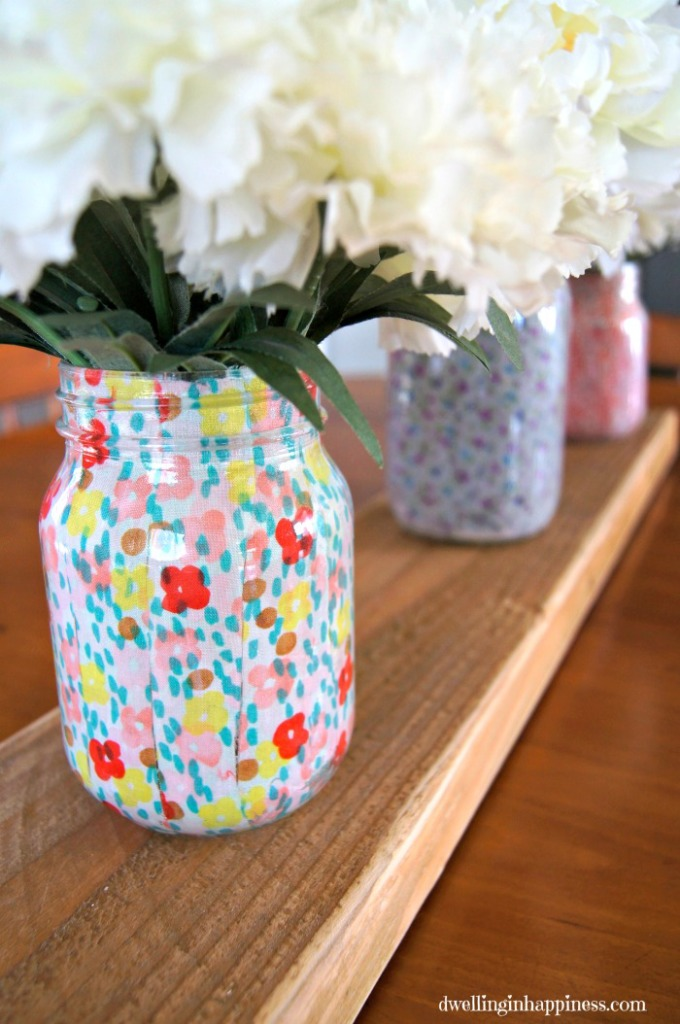 Spring Mason Jar Decor - Layed Fabric Spring Mason Jars via Dwelling in Happiness | http://www.roseclearfield.com