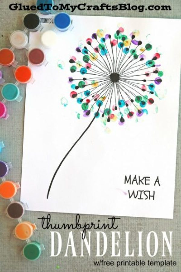 Thumbprint Dandelion via Glued to My Crafts | http://www.roseclearfield.com