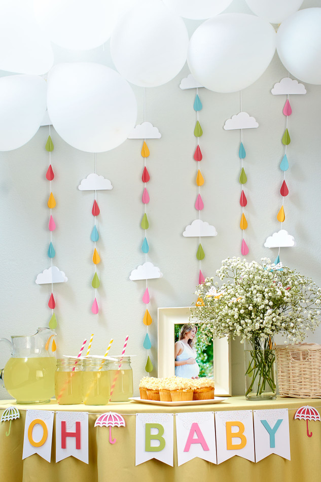 April Showers Bring May Flowers Baby Shower - Raindrops Backdrop via Close to My Heart | https://www.roseclearfield.com