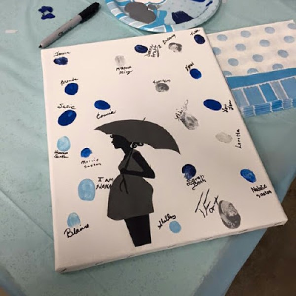 April Showers Bring May Flowers Baby Shower - Thumbprint Guestbook via Hipster's Hollow | https://www.roseclearfield.com