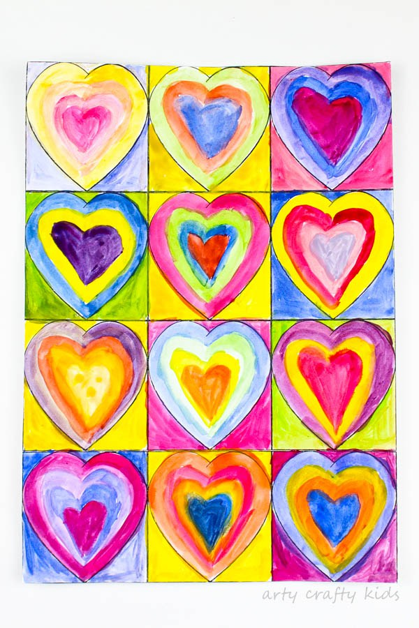 Mother's Day Gift Ideas for Birth Moms - Kandinsky Inspired Heart Art via Arty Crafty Kids | https://www.roseclearfield.com