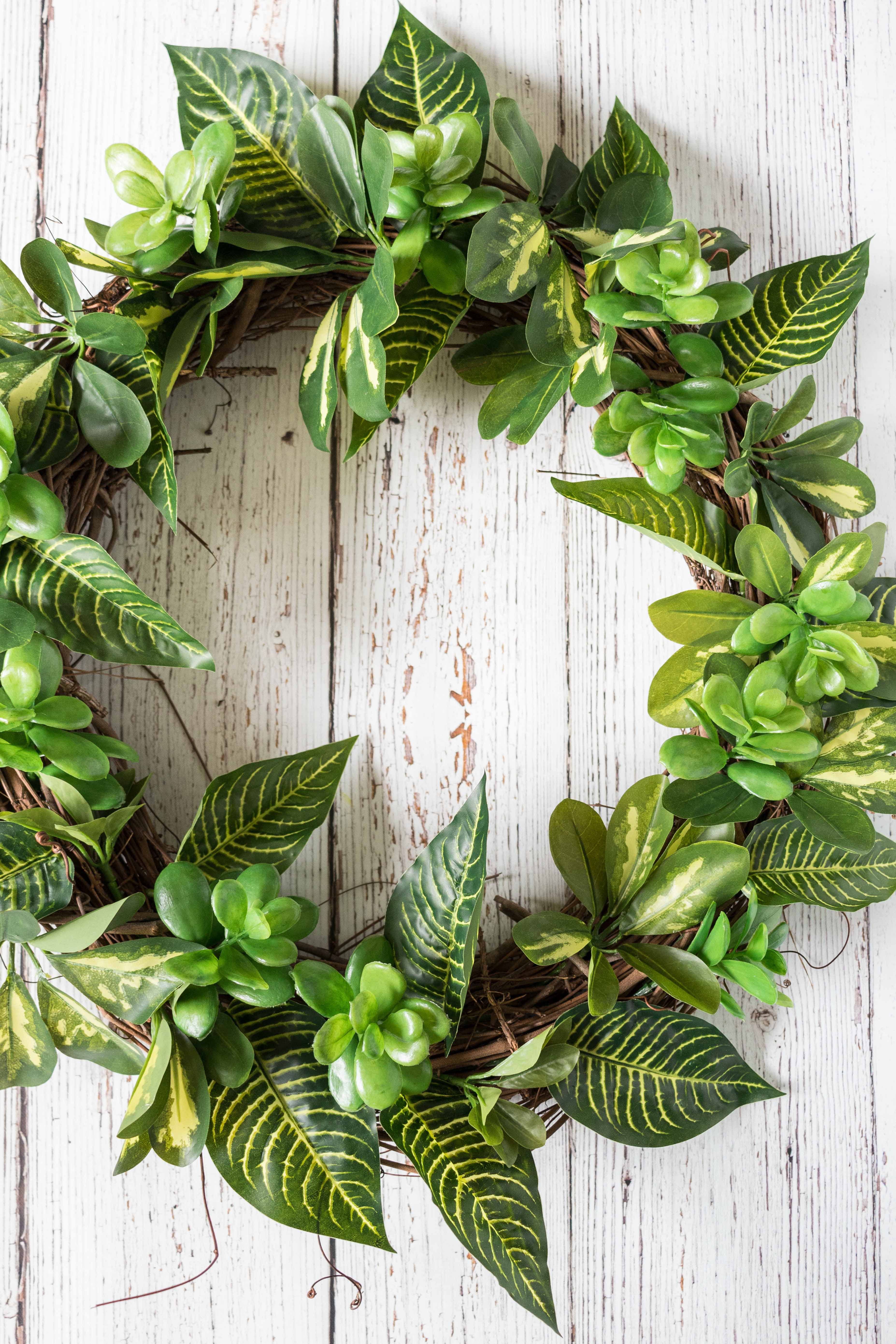DIY Faux Greenery Wreath | https://www.roseclearfield.com