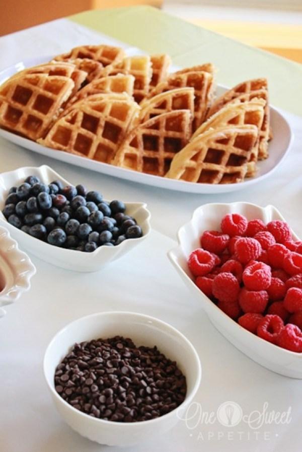 Breakfast for Dinner Ideas - Waffle Bar via One Sweet Appetite | http://www.roseclearfield.com