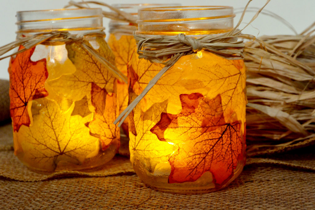 DIY Fall Mason Jar Decor - Autumn Leaf Mason Jar Candle Holder via Spark and Chemistry | http://www.roseclearfield.com