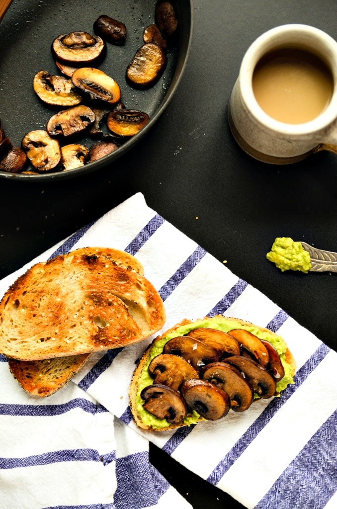 Fall and Winter Grilled Cheese Recipes - Smashed Avocado and Sauteed Mushroom Toast via Blissful Basil | https://www.roseclearfield.com
