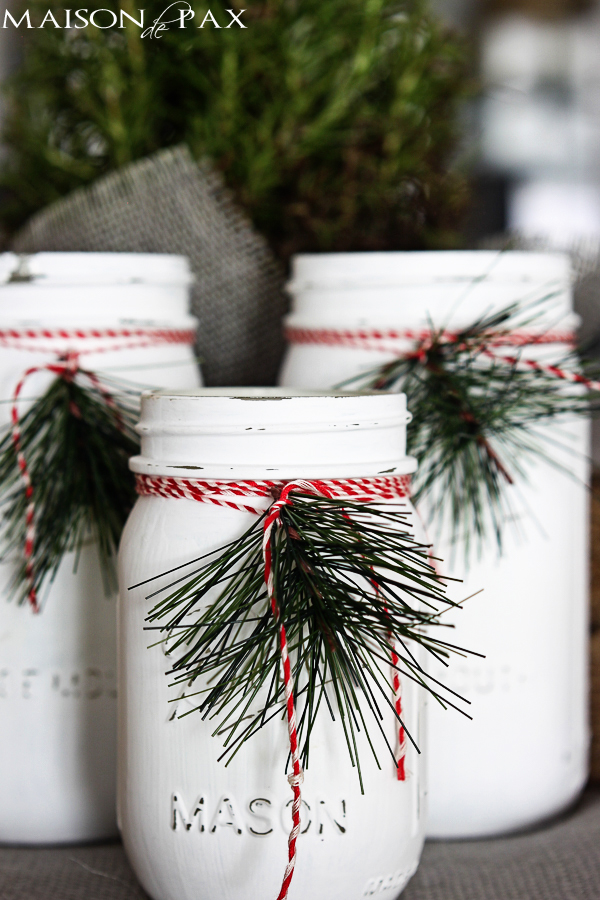 DIY Christmas Mason Jar Decor - Christmas Mason Jar Luminaries via Maison de Pax | https://www.roseclearfield.com