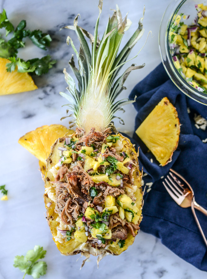30 Days of Healthy Slow Cooker Dinner Recipes - Slow Cooker Jerk Pork in Pineapple Rice Bowls via How Sweet Eats | http://www.roseclearfield.com