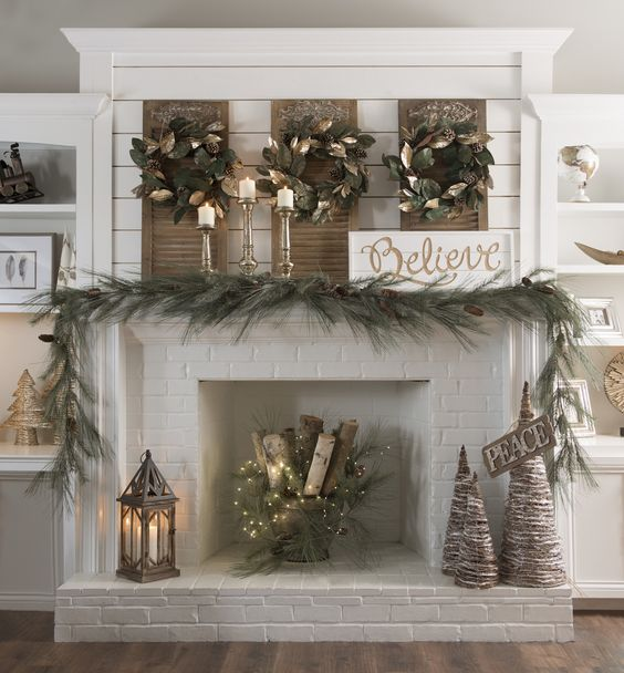 Post-Christmas Winter Mantel Inspiration - Winter Wonderland Christmas Decorations via Kirkland's | https://www.roseclearfield.com
