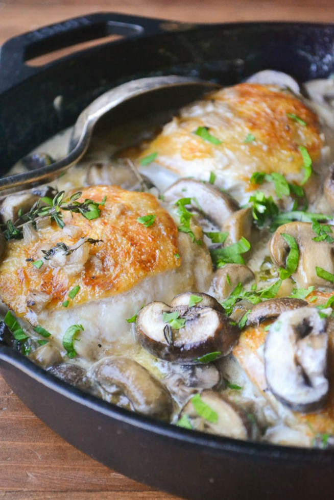 30 Healthy Dinner Recipes for Two - Chicken Thighs Marsala for Two via The View from Great Island | https://www.roseclearfield.com